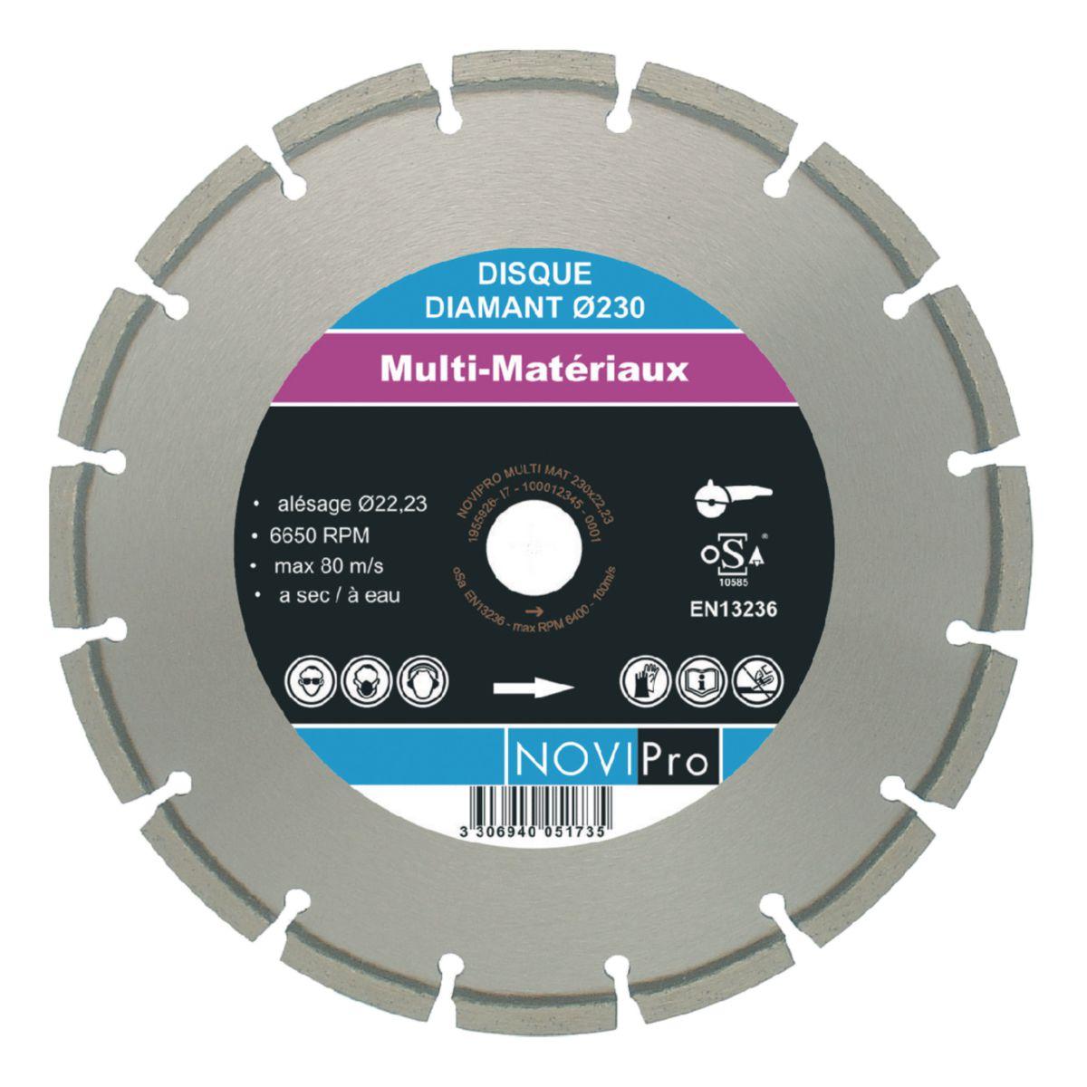 Disque diamant multi-matériaux NOVIPro diamètre 125mm alésage 22,23mm