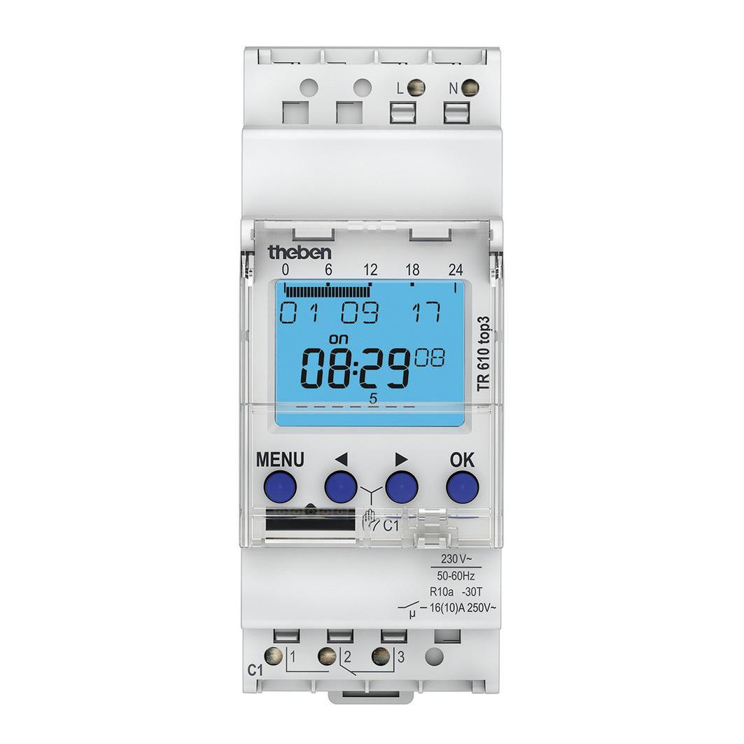 Interrupteur horaire digit 24h 7j 2 modules 1 contact 230 V compatible OBELISK TOP 3 bluetooth Réf. 6100403