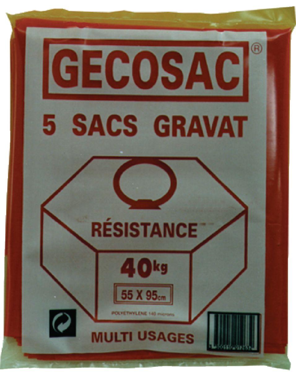 Sac à gravats étanche résistance 40kg 55x95cm rouge paquet de 5 réf : 263