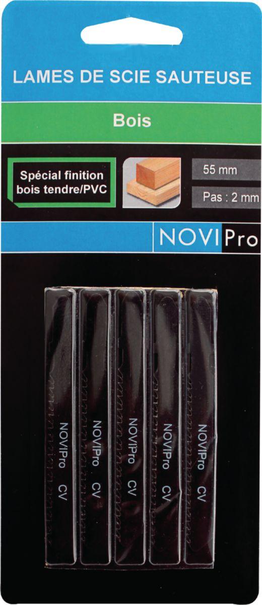 Lame de scie sauteuse universelle NOVIPro 55mm pas 2mm (usage bois finition) carte de 5