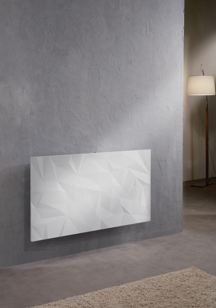 Radiateur connecté Irisium Origamy vertical 1500 W blanc minéral Réf 604114