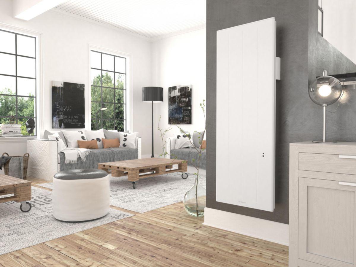 Radiateur acier décor électrique Ovation 3 vertical blanc 1000 W réf. 430231