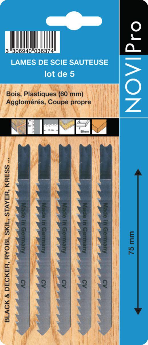 Lame de scie sauteuse universelle NOVIPro bimétal 55mm pas 1,2mm carte de 5