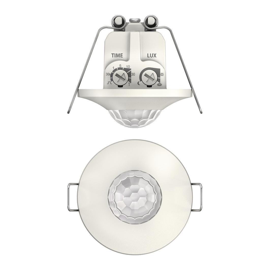 Detecteur presence mini encastre plafond 360 degres blanc IP21 1 canal 8m diametre h 2,5 m 2090200
