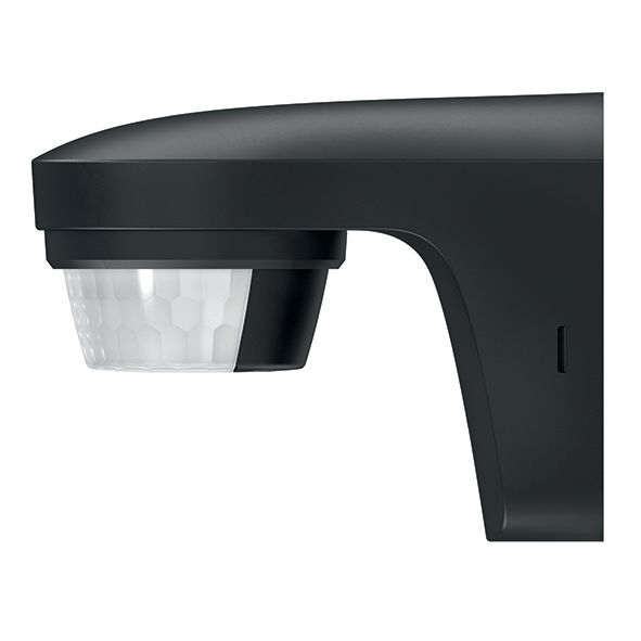 Détecteur de mouvements fixation murale noir IP55 180 + 360 degré contact zéro crossing fonction impulsion détection transversale 12m à 2,5m