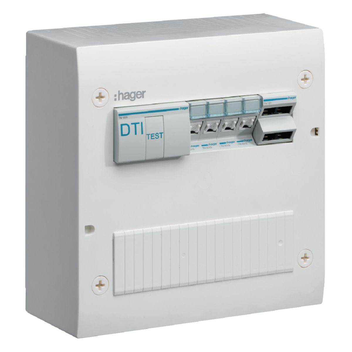 Coffret de communication semi-équipé 4xRJ45 Grade 2TV Réf. TN405